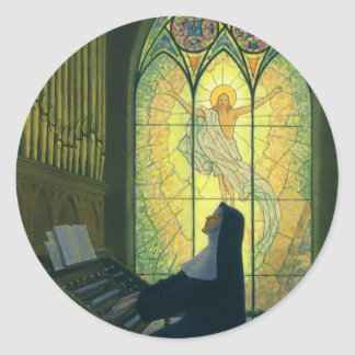 Cristianismo del vintage, monja que juega música etiquetas redondas