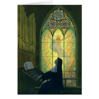 Cristianismo del vintage, monja que juega música tarjeton