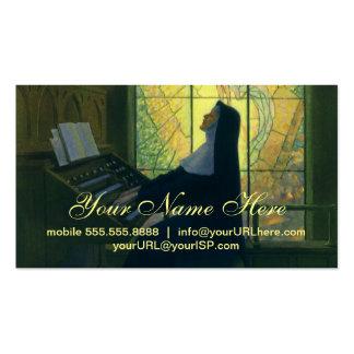 Cristianismo del vintage, monja que juega música tarjetas de visita