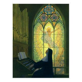 Cristianismo del vintage, monja que juega música tarjeta postal