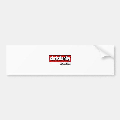 Cristianismo… mi antinarcótico etiqueta de parachoque
