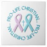 Cristiano antiabortista w/Cross y cintas rosadas/a Azulejo Ceramica