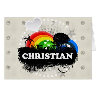 Cristiano con sabor a fruta lindo tarjeta de felicitación
