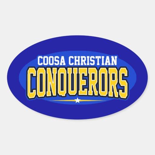 Cristiano de Coosa; Conquistadores Calcomanía Óval Personalizadas