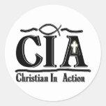 CRISTIANO DE LA CIA EN SIGLAS DE LA ACCIÓN ETIQUETAS REDONDAS