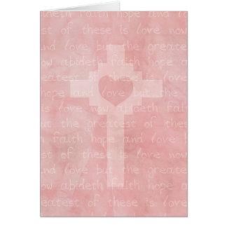 Cristiano de la esperanza y del amor de la fe tarjeta de felicitación