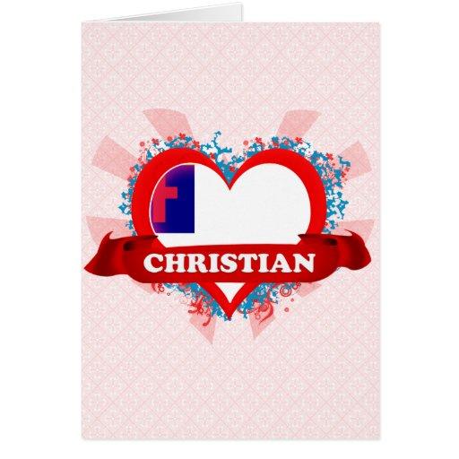 Cristiano del amor del vintage I Tarjeta De Felicitación