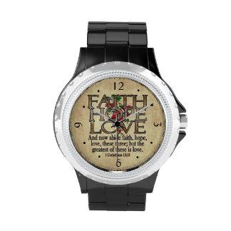 Cristiano elegante de la escritura de la biblia relojes