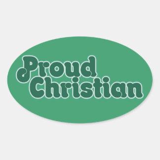 Cristiano orgulloso calcomania óval