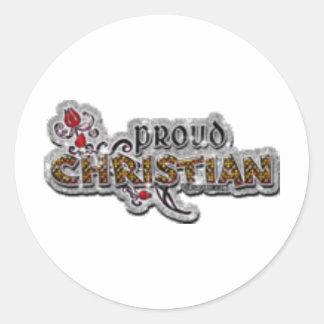 Cristiano orgulloso pegatina redonda
