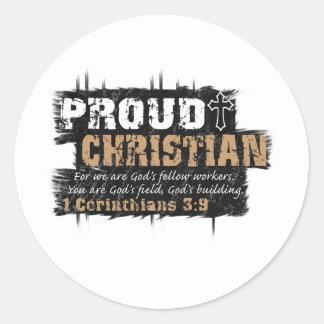 Cristiano orgulloso pegatinas redondas
