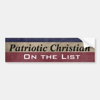 Cristiano patriótico en el personalizable de la pegatina para coche