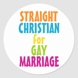 Cristiano recto para el matrimonio homosexual pegatina redonda