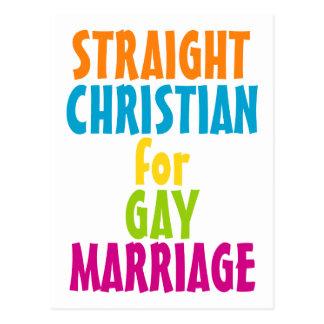 Cristiano recto para el matrimonio homosexual postal