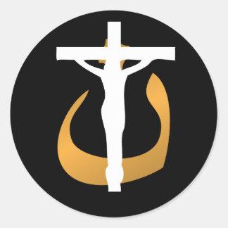 ¡Cristianos de la ayuda! Crucifijo - símbolo de Pegatina Redonda
