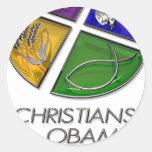 Cristianos para Obama 2012 Pegatina Redonda