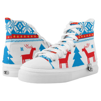Cristmas Knitted Fabric Pattern Printed Shoes