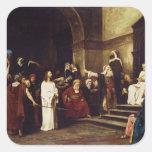 Cristo antes de Pilate Calcomanías Cuadradass Personalizadas
