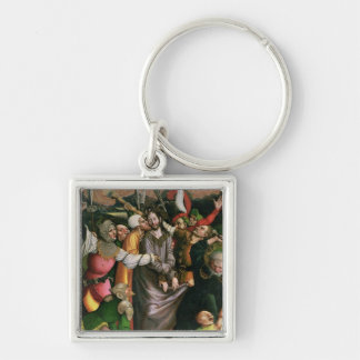 Cristo arrestó en el jardín de Gethsemane Llavero Cuadrado Plateado