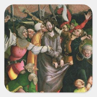 Cristo arrestó en el jardín de Gethsemane Pegatina Cuadrada