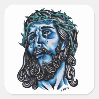 Cristo azul calcomania cuadradas