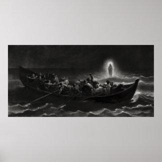 CRISTO CAMINA en el MAR de GALILEA -- 1867 Impresiones