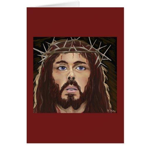 Cristo con la corona de la tarjeta de las espinas