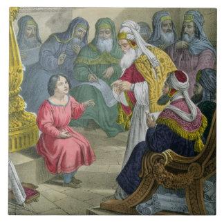 Cristo con los doctores en el templo, de un bibl azulejo cuadrado grande
