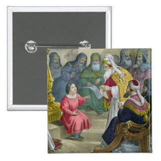 Cristo con los doctores en el templo, de un bibl pin cuadrada 5 cm
