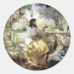 Cristo con Martha y Maria circa 1886 Etiquetas Redondas