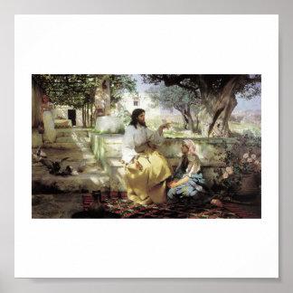 Cristo con Martha y Maria circa 1886 Posters