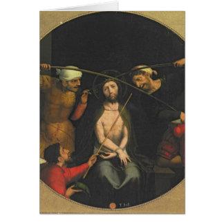 Cristo coronó con las espinas tarjeta de felicitación