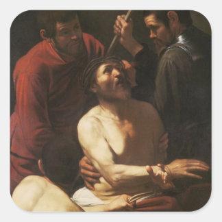Cristo coronó por las espinas, c.1602 pegatina cuadrada