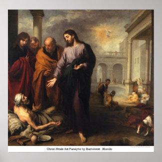 Cristo cura al paralítico de Bartolome Murillo Póster