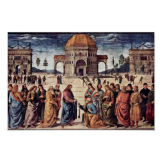 Cristo da a San Pedro las llaves al reino Póster