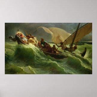 Cristo dormido en su barco póster