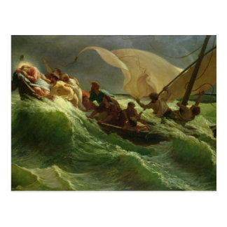 Cristo dormido en su barco postal
