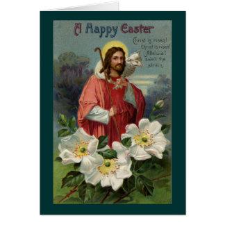 Cristo el pastor con el vintage Pascua del cordero Tarjeta De Felicitación