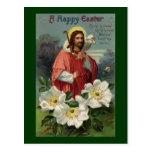 Cristo el pastor con el vintage Pascua del cordero Postal
