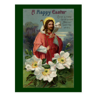 Cristo el pastor con el vintage Pascua del cordero Tarjeta Postal