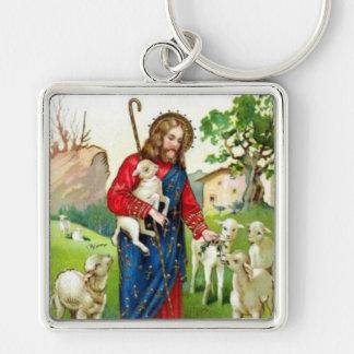 Cristo el pastor llavero cuadrado plateado