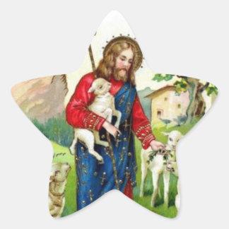 Cristo el pastor pegatina en forma de estrella