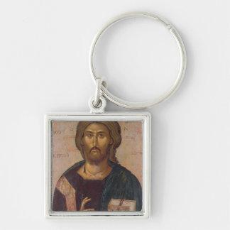 Cristo el redentor, fuente de la vida, c.1393-94 llavero cuadrado plateado