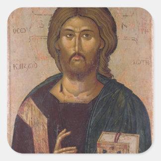 Cristo el redentor, fuente de la vida, c.1393-94 pegatina cuadrada