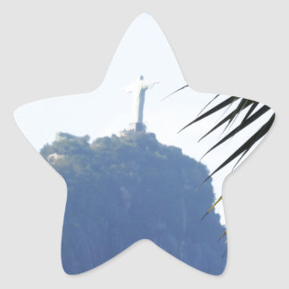 Cristo, el redentor pegatina en forma de estrella