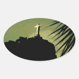 Cristo el redentor pegatina ovalada