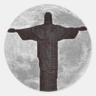 Cristo el redentor pegatina redonda