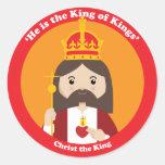 Cristo el rey etiquetas redondas
