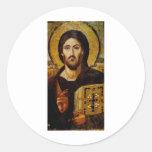 Cristo el salvador etiqueta redonda
