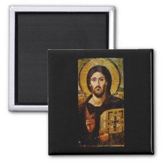 Cristo el salvador imán cuadrado